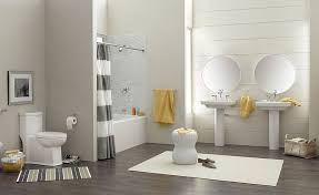 Bathroom Wood Floors - trendy and refreshing gray and yellow bathrooms that delight