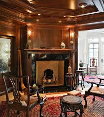 granite fireplace surround living room eclectic with dark wood