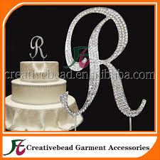 bling cake toppers hot sale 12 cm rhinestone cake topper letter r cake topper for