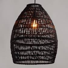 Bamboo Ceiling Light Black Woven Bamboo Pendant Shade World Market