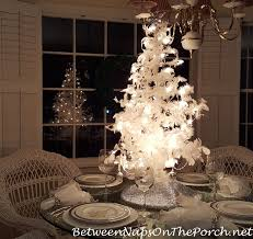 feather tree a white christmas table setting