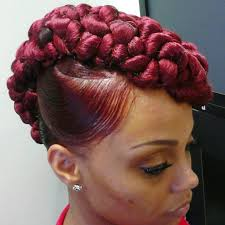 braided pin up hairstyle for black women braided updo on straigtened hair but it looks like her brain is