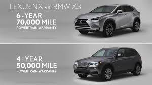 lexus 5 year warranty comparing 2016 lexus nx vs 2015 bmw x3 youtube
