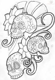 floral mexican sugar skull tattoo design photos pictures and
