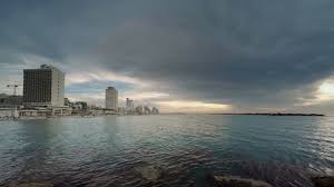 tel aviv city israel winter sunset time lapse stock video footage