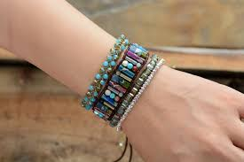 fashion stone bracelet images Semi precious stone beaded cuff bracelet scs fashion store jpg