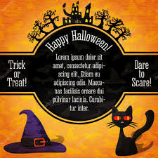 halloween background black cat happy halloween banner with greetings sample text spooky trees