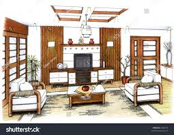 artists simple sketch interior design living stock illustration