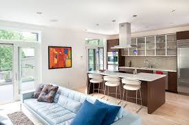 open kitchen living room designs chrome bar stools with back
