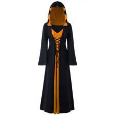 wholesale halloween hooded plus size lace up maxi dress 5xl black