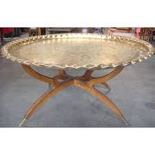 moroccan tea table stand round brass tray table with folding wooden stand only 1950