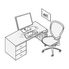dessin de bureau lieu de bureau typique en noir et blanc de dessin isolignes banque