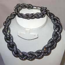 elegant black necklace images Elegant black braided swarovski element crystal choker necklace jpg