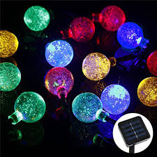 solar powered outdoor string lights 30 led crystal ball solar powered outdoor string lights for outside