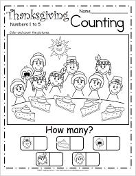 free counting worksheets for kindergarten u2013 thanksgiving pie