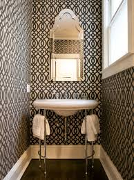 small powder room design white wooden painted flooring idea white