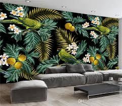 3d mural custom 3d mural tropical rain forest parrot coconut leaf wall