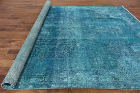 new vintage overdyed 9x11 blue hand knotted floral oriental wool