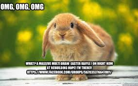 Cute Easter Meme - what a massive multi draw easter raffle on right now at