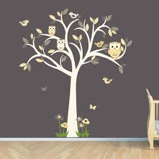 Vinyl Tree Wall Decals For Nursery by Owl Decal Owl Tree Wall Sticker Goldish Yelllow Grey Owl
