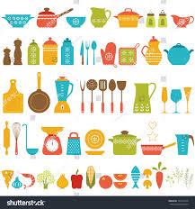 set kitchen utensils food cooking stock vector 197441678