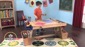 kidkraft art table with drying rack and storage youtube