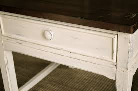 White Distressed Desk by Distressed Off White U0026 Brown End Table With 1 Drawer The Workshop