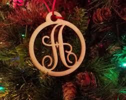 monogram ornament etsy