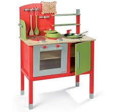 Red Kitchen Set - red wooden play kitchen set with double stove home interiors