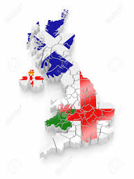 Wales England Map by Map Of Great Britaine In National Flag Colors 3d Stock Photo
