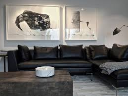 Contemporary Black Leather Sofa Fabulous Black Leather Couch Living Room Ideas For Your Interior