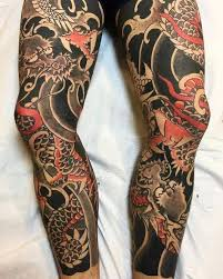 japanese sleeve 和彫り 我慢 刺青 見切り 倶利