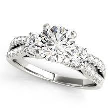 split band engagement rings 14kt white gold split band 3 engagement ring and