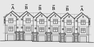 row house plans town home plans six units tandem garage