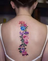 flowers down the spine tattoo designs creativefan
