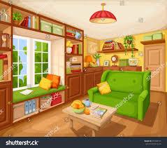 Cozy Livingroom Vector Cozy Living Room Interior Bookcase Stock Vector 457898131