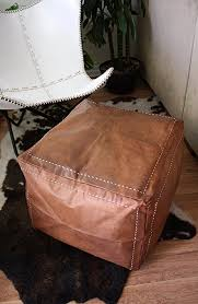 Ottoman Morocco Six Canyons Square Cognac Leather Ottoman Authentic