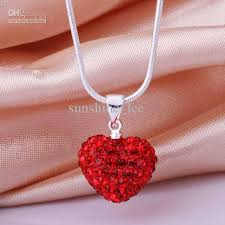 love heart chain necklace images Wholesale heart shamballa necklace 925 silver 14mm red heart jpg