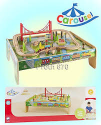 carousel train table set carousel wooden train table 56 piece train set ebay