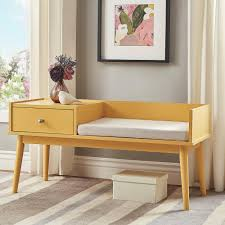 homesullivan langley yellow telephone bench 40863ey 14y the home