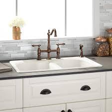 Berwick Bisque Double Bowl Cast Iron Dropin Kitchen Sink - Kitchen sink cast iron