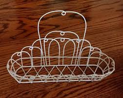 Shabby Chic Wire Baskets by White Wire Basket Etsy