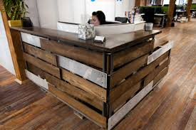 Wood Reception Desk Home Design Reclaimed Wood Reception Desk Style Compact