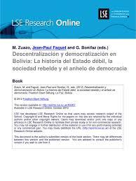 descentralizacion y democracia en bolivia