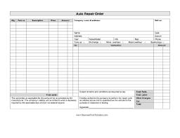 Repair Order Template Excel Auto Repair Order Template