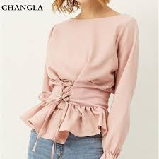 elastic waist blouse changla womens tops and blouses ruffles lace up shirts