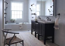black grey and white bathroom ideas black wall tiles white timber vanity bathroom