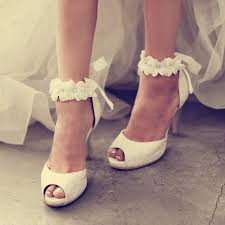 wedding shoes bridal top quality plus size white lace floral wedding shoes bridal dress