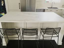 a honed 12mm neolith island counter in a statuario marble finish