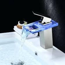 waterfall bathroom sink faucet crystal handle brass body led